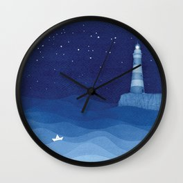 Lighthouse & the paper boat, blue ocean Wall Clock