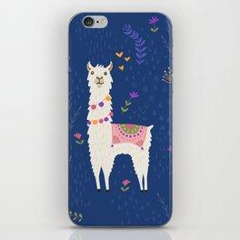 Llama on Blue iPhone Skin