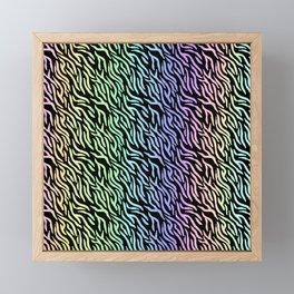 Pastel Rainbow Zebra Stripes (Black Background) Framed Mini Art Print