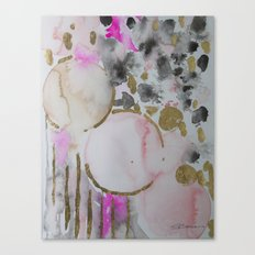 Spots or Dots Pink Abstract Painting Canvas Print