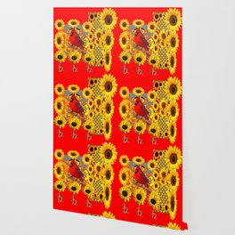 RED CARDINAL BIRD YELLOW SUNFLOWERS  ABSTRACT Wallpaper