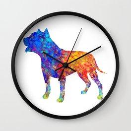 Pit Bull Dog Watercolor Art Wall Clock