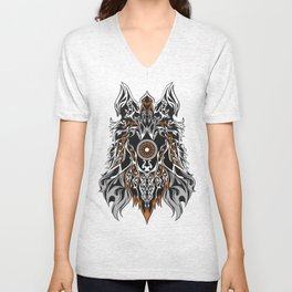 WOLF FOREHEAD BROWN MIX Unisex V-Neck