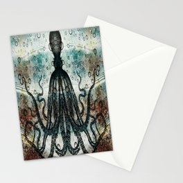 Octopus In Stormy Water Stationery Cards