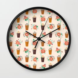 Coffee floral bouquet coffee lovers java bean cute pattern print for kitchen Wall Clock