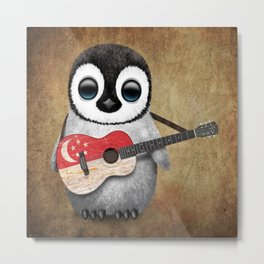 Baby Penguin Playing Singapore Flag Guitar Metal Print