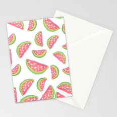 Hand painted modern watercolor hearts watermelon fruits pattern Stationery Cards