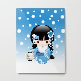 Japanese Winter Kokeshi Doll Metal Print