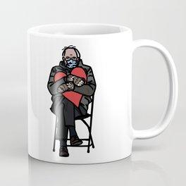 Bernie Sanders in Mittens Holding Red Heart Coffee Mug