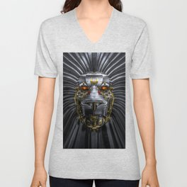Hear Me Roar / 3D render of serious metallic robot lion Unisex V-Neck