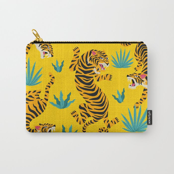 Yellow Tiger Tropical Pattern Carry-All Pouch