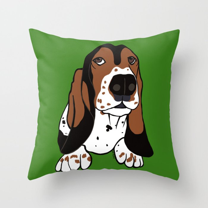 A Dog Mom and Her Basset Hound Throw Pillow