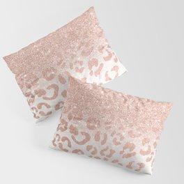 Trendy modern faux rose gold glitter ombre leopard pattern Pillow Sham