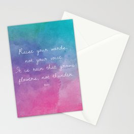 Raise your words, not your voice. - Rumi Stationery Cards