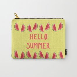 Hello Summer Watercolor Handlettered Painting - Yellow Background Carry-All Pouch