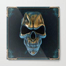 Skull in gold and turquoise Metal Print