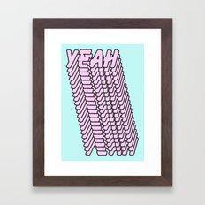 YEAH Typography Pink Blue Framed Art Print
