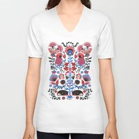 folk V-neck T-shirts featuring The Pug of Folk  by Huebucket