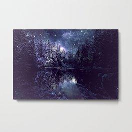 A Cold Winter's Night Midnight Blue Winter Wonderland Metal Print