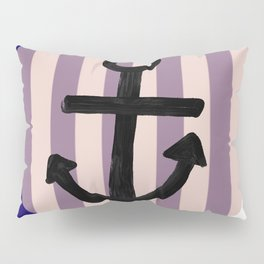 Nautical Anchor Blue White and Pink Pillow Sham