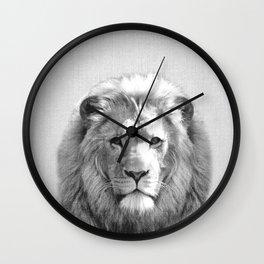 Lion - Black & White Wall Clock