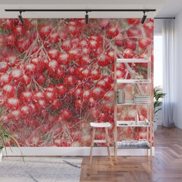 Red holly berries in marbled pattern Wall Mural