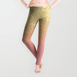 Modern gold ombre pink color block Leggings