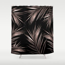 Rosegold Palm Tree Leaves on Midnight Black Shower Curtain