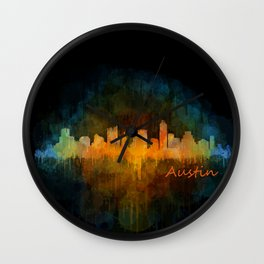 Austin Texas, City Skyline, watercolor  Cityscape Hq v4 Dark Wall Clock