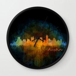 Austin Texas, City Skyline, watercolor  Cityscape Hq v4 Dark Wall Clock