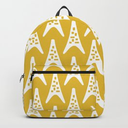 Mid Century Modern Boomerang Triangle Pattern 931 Mustard Yellow Backpack