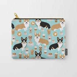 Corgis and coffee pillow phone case corgi gift cute cardigan corgi art Carry-All Pouch