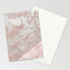 Pink marble & french polished rose gold marble Stationery Cards