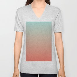 Ombre Living Coral with Turquoise Unisex V-Neck
