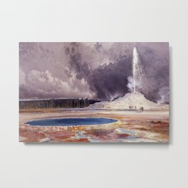 The Castle Geyser, Yellowstone Park landscape painting by Thomas Moran Metal Print
