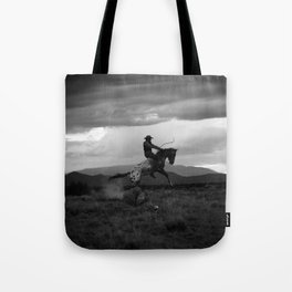 Black and White Cowboy Being Bucked Off Tote Bag