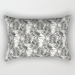 Tropical Feather Leaves in Grey Rectangular Pillow
