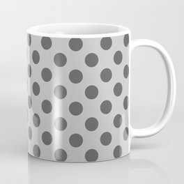 Large Polka Dots Pattern in Charcoal on Dove Gray Coffee Mug