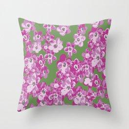 Pink Saxifraga floral Throw Pillow