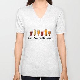 Funny Hilarious Craft Beer Pun Women Men Dad T-Shirt - Don't Worry, Be Hoppy Unisex V-Neck