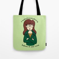 daria Tote Bags featuring  Daria, the Original Hipster by Elizabeth A