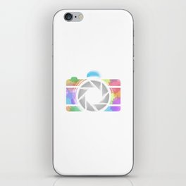Watercolor Photography camera- Rainbow colored photography lover iPhone Skin
