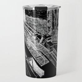 Panama Canal - White on Black Travel Mug