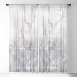 Winter Scene Rowan Berries With Snow And Bokeh #decor #buyart #society6 Sheer Curtain