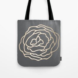 Rose White Gold Sands on Storm Gray Tote Bag