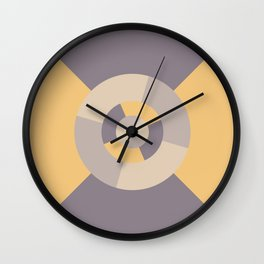 Simple geometric discs pattern yellow and taupe Wall Clock