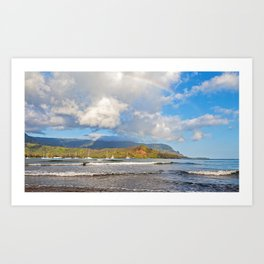 Rainbow Over Hanalei Bay Art Print