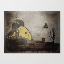 Yellow Barn on Sepia Background With Birds Flying A170 Canvas Print