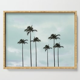 Palm Tree | Landscape Photography | Sunset Clouds | Blue Sky | Minimalism Serving Tray