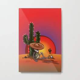 Cactus and skeleton in Sunset Metal Print